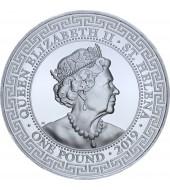 Серебряная монета 1oz Торговый доллар Китая 1 фунт стерлингов 2019 Остров Святой Елены