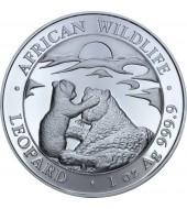 Серебряная монета 1oz Леопард 100 шилингов 2019 Сомали
