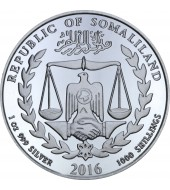 Серебряная монета 1oz Год Обезьяны 1000 шилингов 2016 Сомали