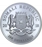 Серебряная монета 1oz Слон 100 шилингов 2018 Сомали