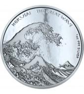 Серебряная монета 1oz Хокусай Большая волна 1 доллар 2017 Фиджи