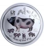 Серебряная монета 1oz Год Свиньи 1 доллар 2019 Австралия (цветная)