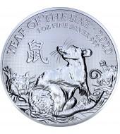 Серебряная монета 1oz Год Крысы (Мыши) 2 фунта стерлингов 2020 Великобритания
