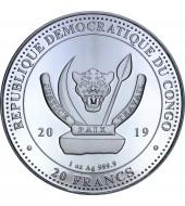 Серебряная монета 1oz Жираф 20 франков 2019 Конго