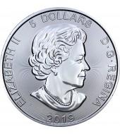 Серебряная монета 1oz Гризли 5 долларов 2019 Канада