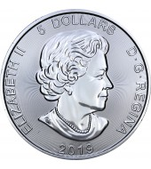 Срібна монета 1oz Грізлі 5 доларів 2019 Канада