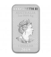 Срібна монета 1oz Прямокутний Дракон 1 долар 2019 Австралія