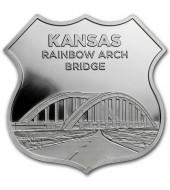 """Срібний раунд 1oz Канзас серія """"Роут 66"""" США"""
