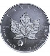 """Срібна монета 1oz Кленовий Лист """"Інь Ян"""" 5 доларів 2016 Канада"""