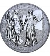 """Срібна монета 1oz Алегорії Колумбії та Німеччини 5 Марок 2019 Німеччина """"Limited Edition for WORLD MONEY FAIR'20"""""""