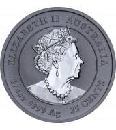 Срібна монета 1/4oz Рік Миші (Щура) 25 центів 2020 Австралія (кольорова)