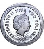 Серебряная монета 1oz Афинская Сова 2 доллара 2020 Ниуэ