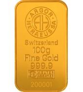 Золотий зливок 100 грам 9999 Fine Gold Argor-Heraeus