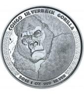 Срібна монета 1oz Сільвербек Горила 5000 франків КФА 2018 Конго