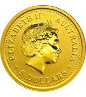 Золотая монета 1/20oz Год Свиньи 5 долларов 2007 Австралия