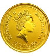 Золотая монета 1/10oz Год Быка 15 долларов 1997 Австралия