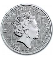 """Серебряная монета 2oz Белая Лошадь Ганновера (серия """"Звери Королевы"""") 5 фунтов 2020 Великобритания"""