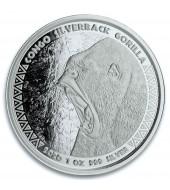 Серебряная монета 1oz Сильвербэк Горилла 5000 франков КФА 2020 Конго