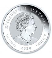 Серебряная монета 1oz Бык и Медведь 1 доллар 2020 Австралия
