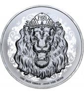 Серебряная монета 1oz Рычащий Лев 2 доллара 2020 Ниуэ