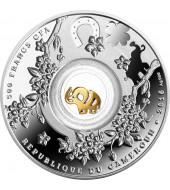 Срібна монета Сім слоників - Щаслива сімка 500 франків 2016 Камерун (кольорова)